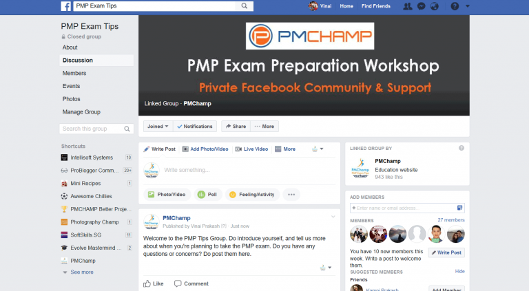 PMCHAMP PMP Facebook Group